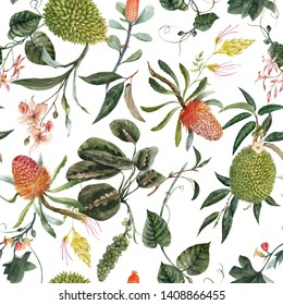 Watercolor etropic floral pattern, blooming orchid, durian fruit, banxia and australian plants