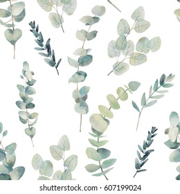 Watercolor eucalyptus branches seamless pattern. Hand painted floral texture with plant objects on white background. Natural wallpaper