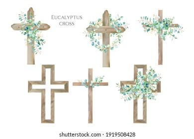 Watercolor Eucalyptus Cross, Wood Cross, Baptism, Floral Clipart, First Communion, Holy Spirit, Florals Arrangements, Easter cross
