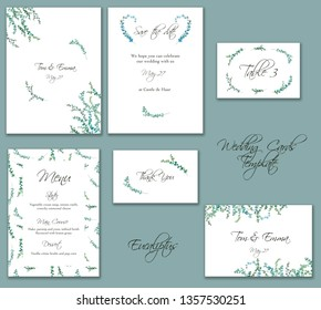 Watercolor eucalyptus drawing  for minimalistic set of wedding templates. Hand painted plants, branches, leaves on white background. Set of greenery wedding invitations. Natural card design.