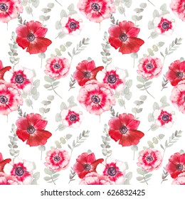 Watercolor eucalyptus and flowers seamless pattern. Hand painted botanical repeating texture with red anemones and green leaves on white background. Artistic floral wallpaper design