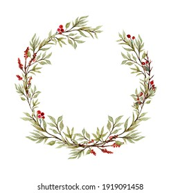 Watercolor eucalyptus wreath, garland. Wedding eucalyptus design frame, circle logo. Rustic greenery. Mint, blue tones. Hand painted branch,  leaves isolated on white background, trendy branding