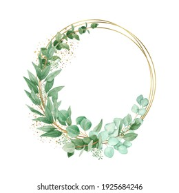 Watercolor eucalyptus wreath with geometric gold element isolated on a white background, hand-drawn. For wedding invitation, textile, greeting card, sublimation design, wrapping.