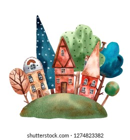 Watercolor europe buildings card. Cute cartoon illustration for touristic maps and souvenirs. Tree little houses and cute trees. Cozy old european street with good neighbors. Design for children.
