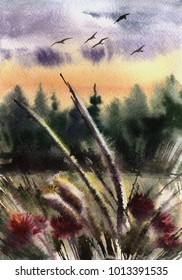 Watercolor evening nature