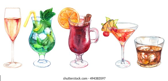 Watercolor exotic drink alcohol cocktail set isolated