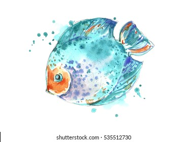 Watercolor exotic fish isolated on white background.