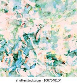 Watercolor exotic seamless pattern. Tribal colorful paint brush print. Oriental watercolour bandana. Swimwear texture. Floral coachella seamless pattern. Ethnic abstract mix artwork.