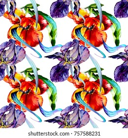 Watercolor exotic tropical wildflower.Violet,blue iris composition.Seamless beauty pattern.Free design wallpaper.Magic fashion fabric textile print with colorful flora.
