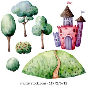 Watercolor fairy tale constructor set. Hand painted green trees and bushes, castle isolated on white background. Forest illustration for design, print