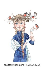 Watercolor fairy-tale winter girl in blue with blonde hair braided in a hat by a crown of rowan branches of a nursing family of bright red bullfinches berries for New Year's decoration holiday cards