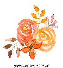 Watercolor Fall Flower Bouquet Autumn Floral Hand Painted Arrangement
