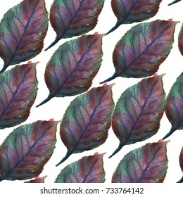 Watercolor fall leaves seamless pattern.