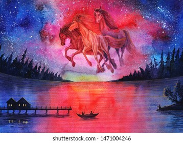 Watercolor fantasy cosmic horses landscape, beautiful abstract space painting with stars in sky and night forest, galaxy drawing art with sunset, sunrise, autumn, hand drawn universe fantasy art