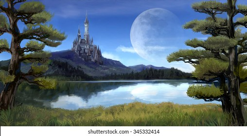 Watercolor fantasy illustration of a natural riverside lake forest landscape with ancient medieval castle on the rocky hill mountain background and blue sky with giant moon scene with fairy tale myth