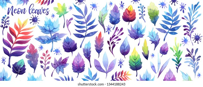 Watercolor fantasy neon sky galaxy moon leaf set. Cosmos violet purple pink blue leaves on white background. Watercolour gradient forest foliage. Hand drawn abstract herbs elements