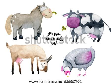 Watercolor Farm Animals Eating Set Goat Stock Illustration Royalty