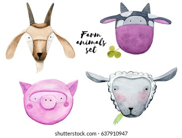 Watercolor farm animals heads set: a goat, a cow, a pig, a sheep. Hand painted illustrations
