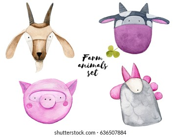 Watercolor farm animals set - a goat, a cow, a pig and a chicken. Hand painted illustration for children's books or cards.