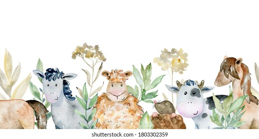 Watercolor farm seamless border with animals. Cute cartoon characters.