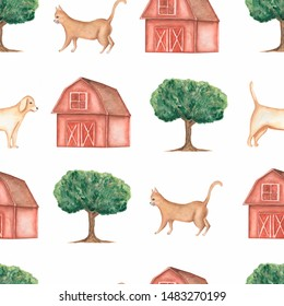 Watercolor farm  seamless pattern.Domestic animals. Hand drawn objects:cat,dog,tree,barn. Hand drawn background. Village life.