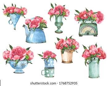 Watercolor Farmhouse Decor With Flowers Clipart. Vintage Rusty Iron Elements. Pink flowers, wedding clipart. French style flower arrangement. Perfect for scrapbooking, wedding invitation.