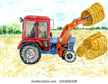 Watercolor farming tractor machine design, hand drawn illustration.
