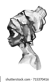 Watercolor fashion african woman portrait. Hand drawn profile of young girl. Painting monochrome beauty illustration