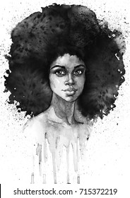 Watercolor fashion african woman portrait with splashes. Painting monochrome beauty illustration. Hand drawn sexy