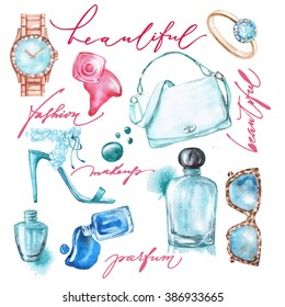 Watercolor  fashion and  cosmetics  background  with   make up artist objects: ladies watch, handbag, nail Polish, jewelry, shoes,  perfume.
