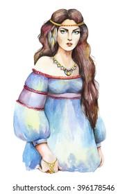 Watercolor fashion girl. Boho style. Hand drawn raster illustration.