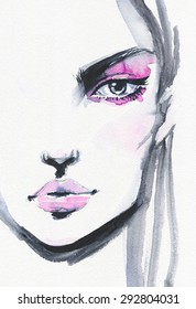Watercolor fashion illustration of beautiful face.