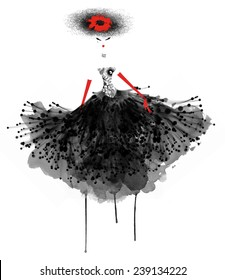 Watercolor fashion illustration of a girl in a ball gown