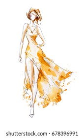 Watercolor fashion illustration, model in a long dress, catwalk