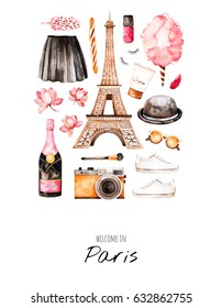 Watercolor fashion illustration. Watercolor illustration Paris style. Handpainted postcard with cosmetics,Tour Eiffel,champagne,camera,cotton candy,sweet etc.Perfect for you project,invitation,print