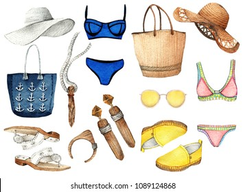 Watercolor Fashion Illustration. set of trendy accessories. The best summer. hat, loafers, swimsuit, sunglasses, bag, ring, sandals, earrings, pendant