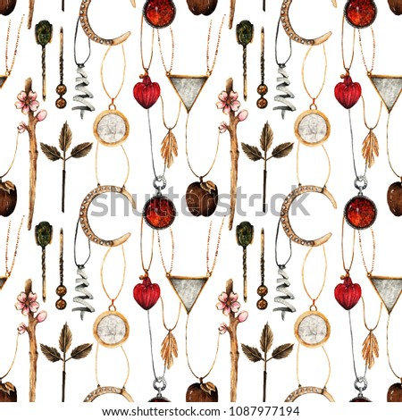 3b7e1e49d Watercolor, Fashion Illustration. set of trendy accessories. Jewelry made  of gold and silver. pendants, hair clips,seamless pattern,light background  - ...