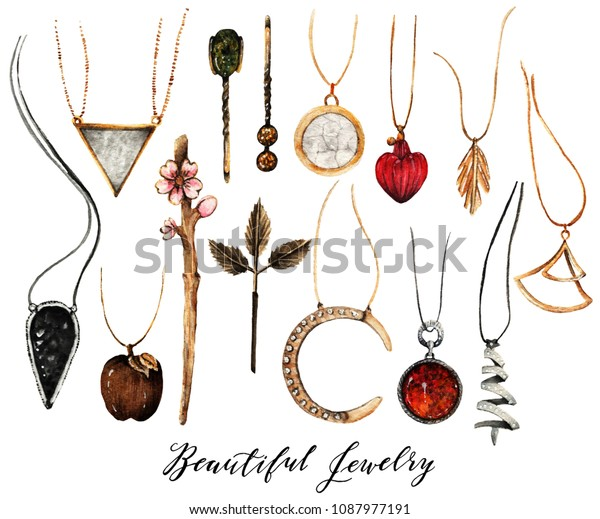 9a7910754 Watercolor, Fashion Illustration. set of trendy accessories. Jewelry made  of gold and silver