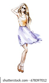 Watercolor fashion illustration, summer look