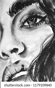 Watercolor fashion illustration, unique art print, girl face eyes, lips, brows, nose, teeth, expressive woman face black and white drawing, aquarelle sketch design poster