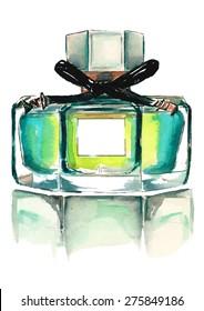 Watercolor fashion perfume bottle illustration