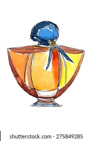 Watercolor fashion perfume bottle illustration