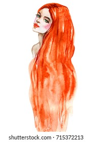 Watercolor fashion woman portrait with ginger long hair. Painting beauty illustration. Hand drawn young girl, mermaid