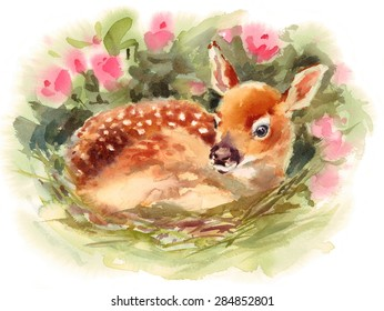 Watercolor Fawn Baby Deer Laying Surrounded by Flowers Hand Painted Children Illustration
