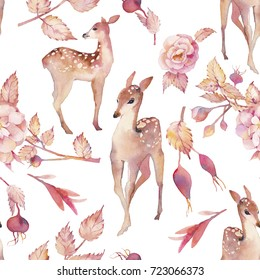 Watercolor fawn, leaves and flowers seamless pattern. Hand painted texture design with deer and dogrose branch on white background. Vintage wallpaper