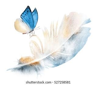 水彩羽毛,白色蝴蝶作为亮度的象征