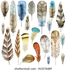 Watercolor feathers. Ethnic feathers. Watercolor clipart