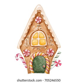 Watercolor festive illustration gingerbread house, caramel and linden, Christmas greeting card. gingerbread
