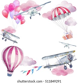 Watercolor festive sky frame. Hand painted card design: vintage airplane, flags garlands, hot air balloon, party air balloons, gift box on parachute isolated on white background. Baby greeting card