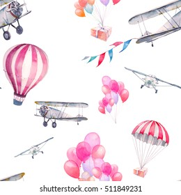 Watercolor festive sky seamless pattern. Hand painted texture with vintage airplane, flags garlands, hot air balloon, party air balloons on white background. Wallpaper with retro sky transport